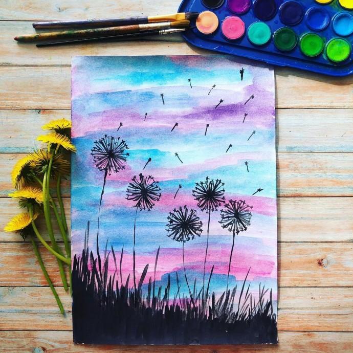 Рисуем с детьми одуванчики на закате
