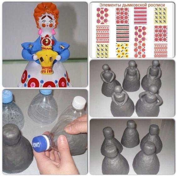 Создаем дымковскую игрушку из пластиковой бутылки