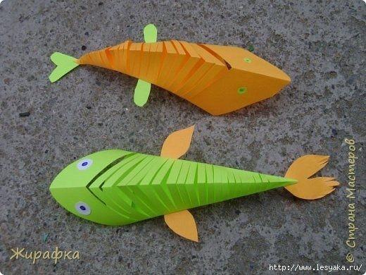 Поделки с детьми: рыбки из бумаги