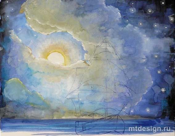 Рисуем с детьми вечернее море с парусником