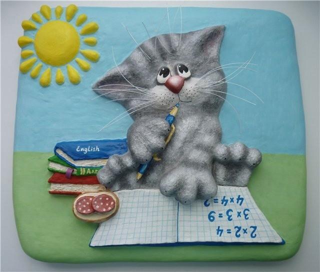 Котик в технике папье-маше