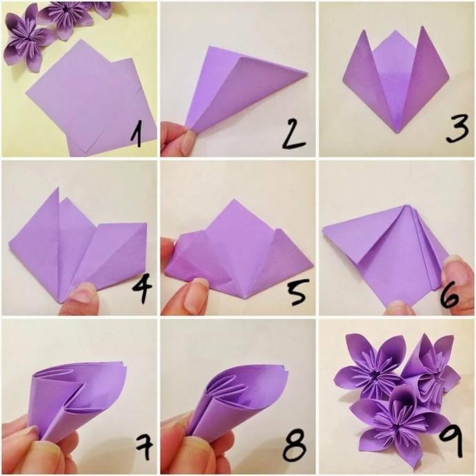 Цветочки в технике оригами