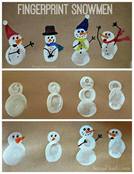 Рисуем снеговиков пальчиками 4