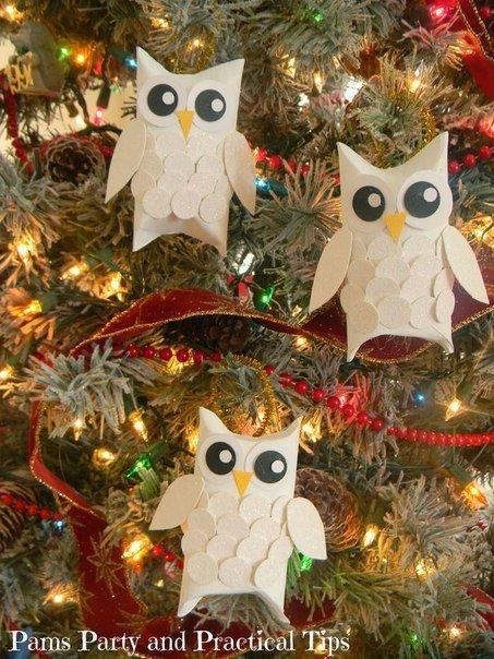 Рождественские ёлочные игрушки в виде сов 7