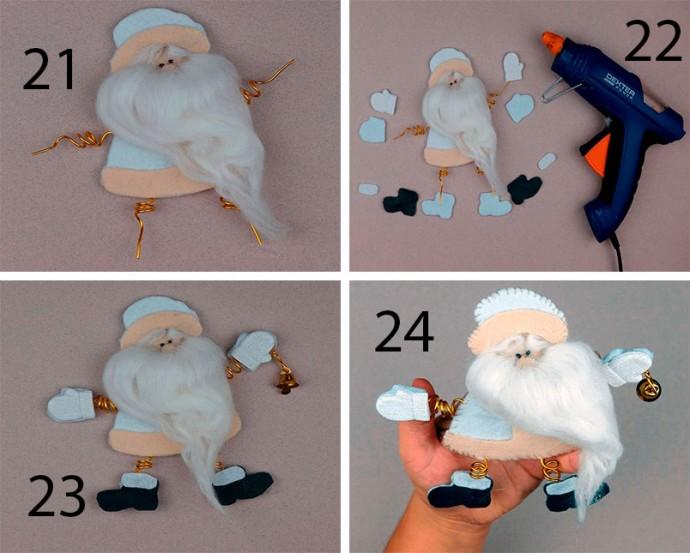 Дед Мороз с руками и ногами на спиральках из проволоки