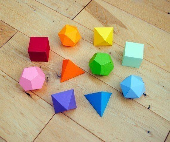 Делаем с детьми объемные геометрические фигуры из бумаги