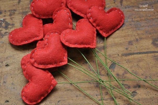 Сердечный букет из фетра