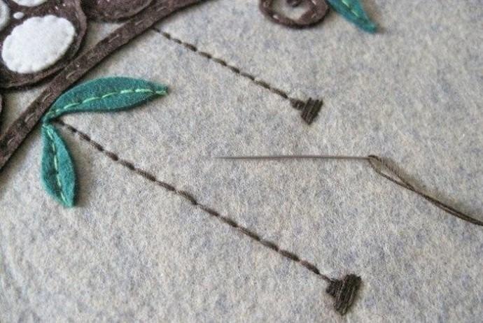 Панно с совушками из войлока