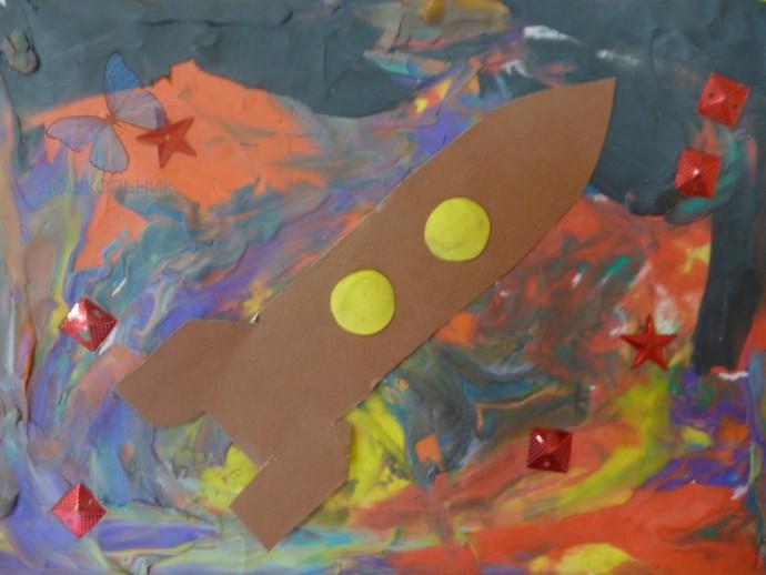 Ракета из картона и пластилина