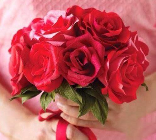 Розы из гофробумаги