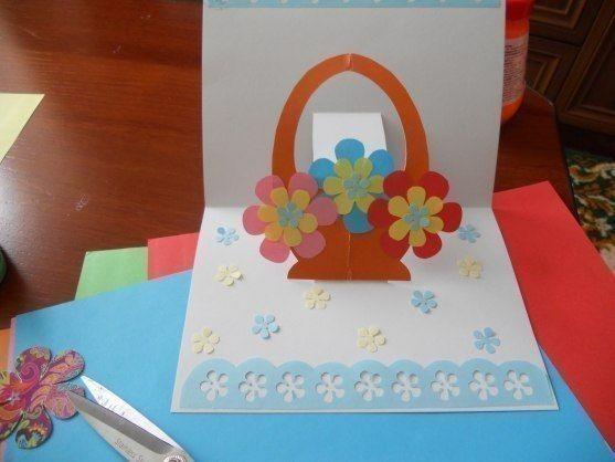 Объёмная корзинка с цветами