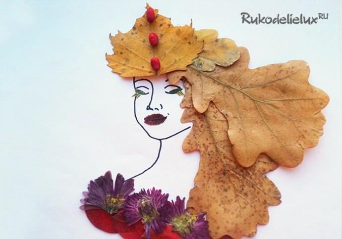 Осенний портрет из разных листьев