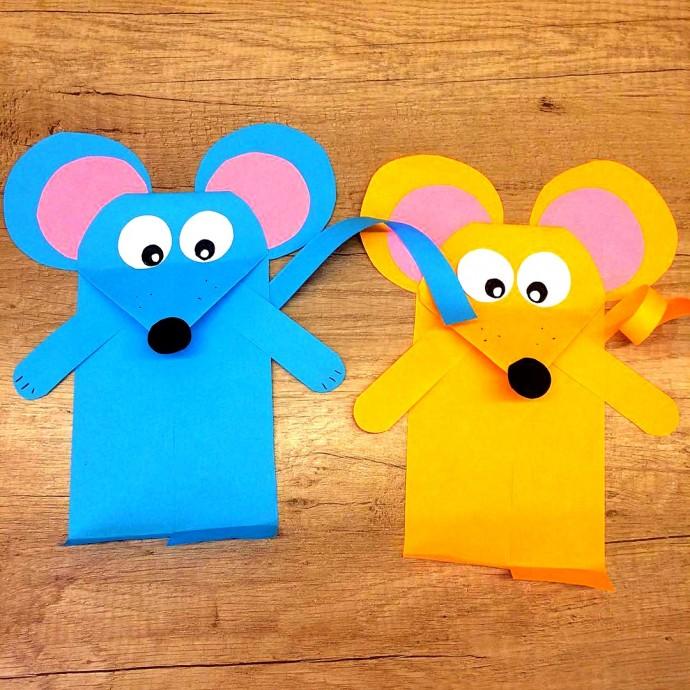 Мышка из цветной бумаги