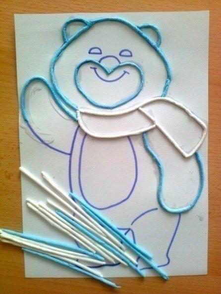 Мишка из бумажных салфеток