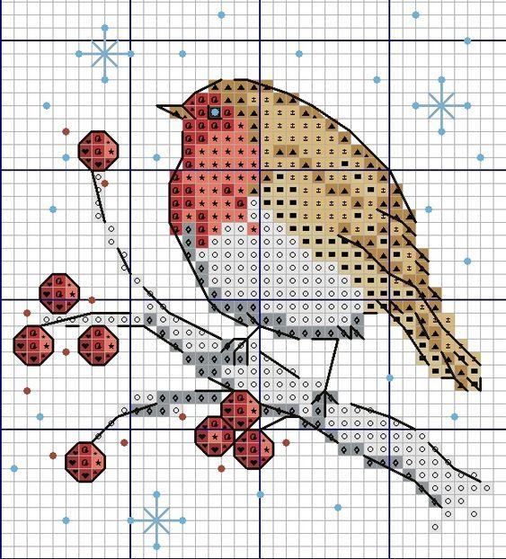 Схемы вышивки для детей: птички 0