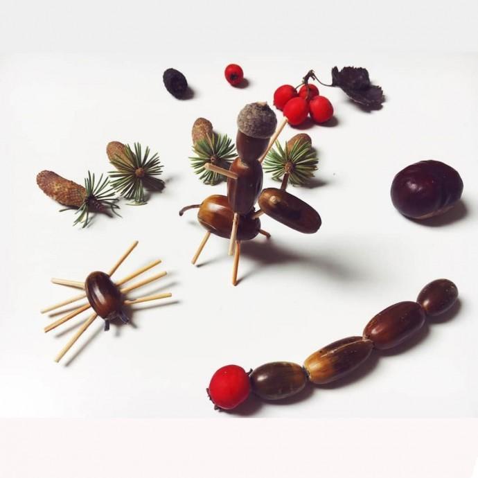 Простые поделки из шишек, желудей и каштанов