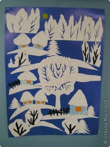 Зимние аппликации из цветной бумаги и ажурных бумажных салфеток