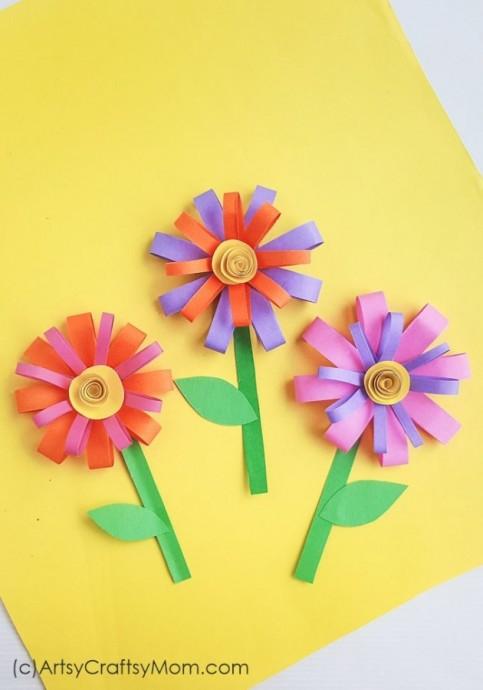 Бумажные цветочки для открытки