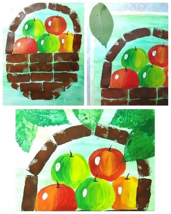 Рисуем с детьми корзину с яблоками