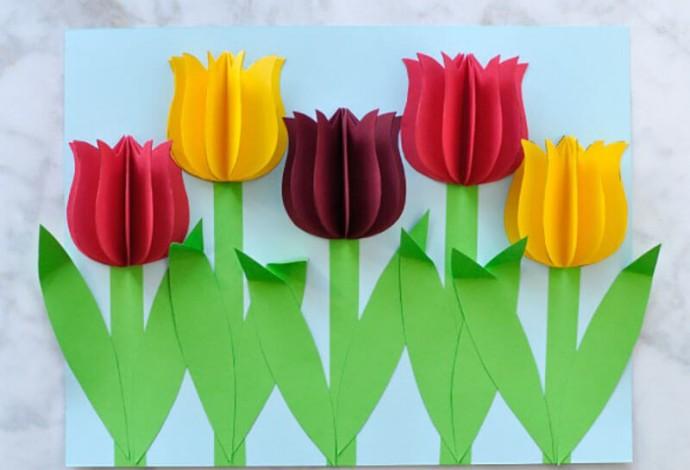 Творчество с детьми: тюльпаны из бумаги