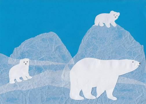 Оригинальная аппликация с белыми медведями 0