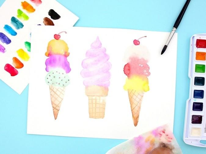 Рисуем мороженое акварелью