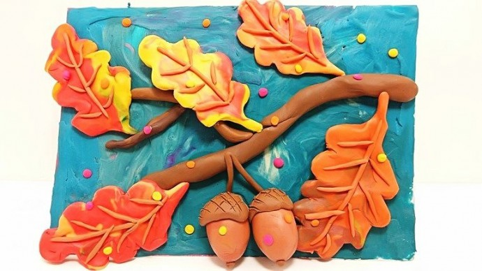Осеннее панно из пластилина