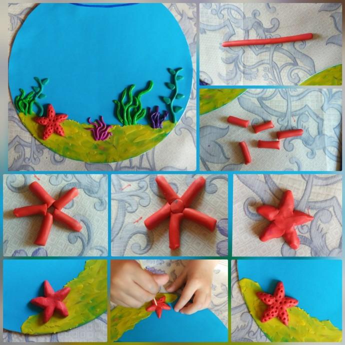 Панно из пластилина: подводный мир