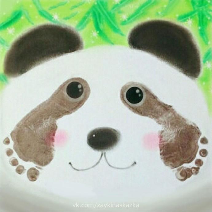Рисуем панду ножками 7