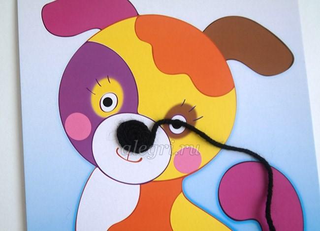 Аппликация в виде собаки из ниток: мастер-класс