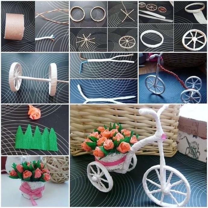 Цветочный велосипед, везущий цветы любимой бабушке