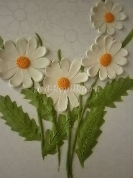 Цветы в технике пластилинографии