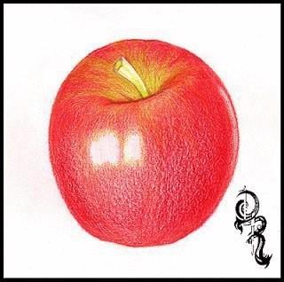 Рисуем с детьми наливное яблочко цветными карандашами