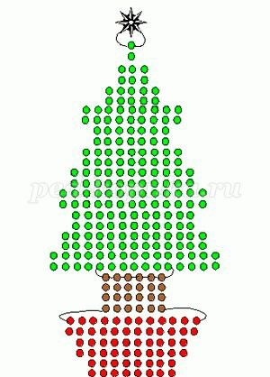 Ёлочка, снеговик и Дед Мороз из бисера 9