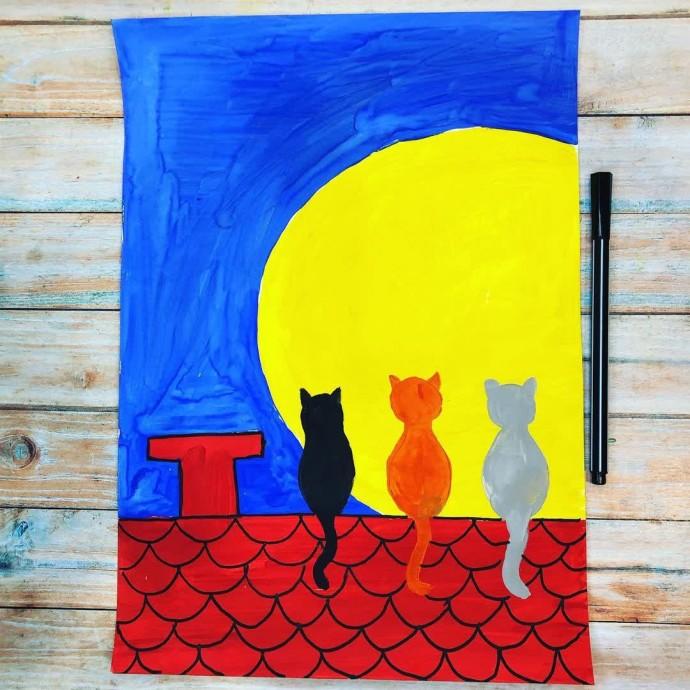 Рисуем компанию котов на крыше