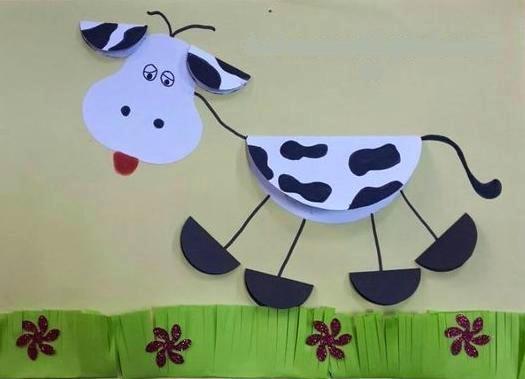 Аппликация корова из бумаги