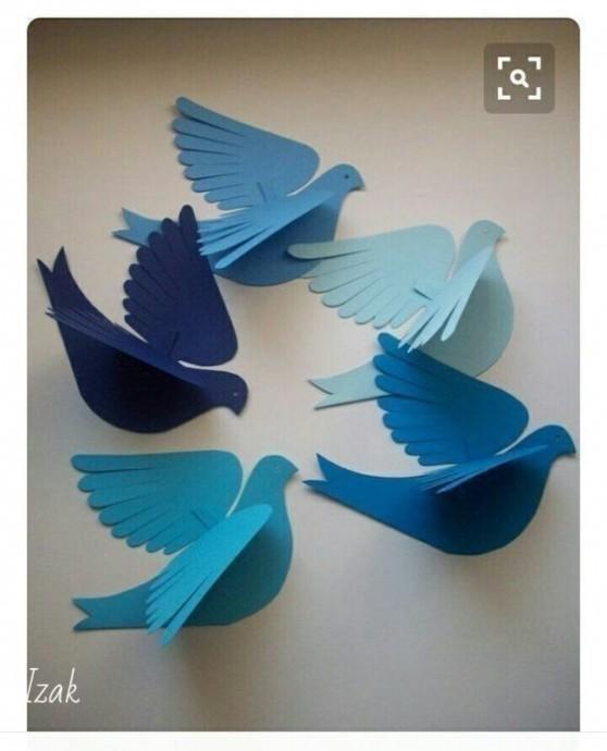 Бумажные голуби для мобилей в детской комнате