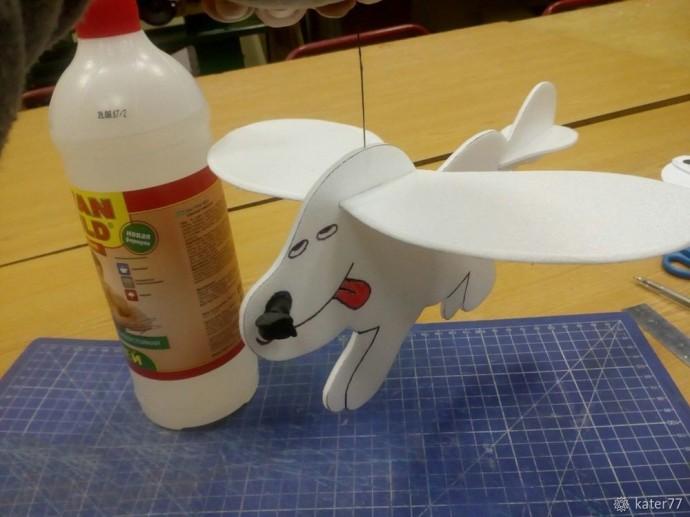 Делаем летающую собачку Вуффи из пенопласта