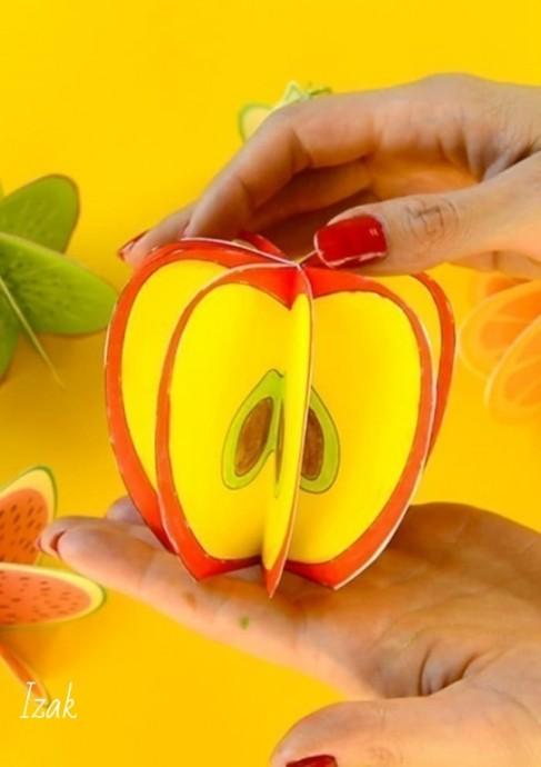 Объемные фрукты, нарисованные самостоятельно