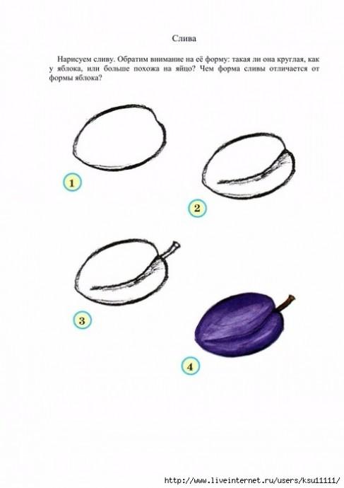 Рисуем с детьми овощи, ягоды и фрукты