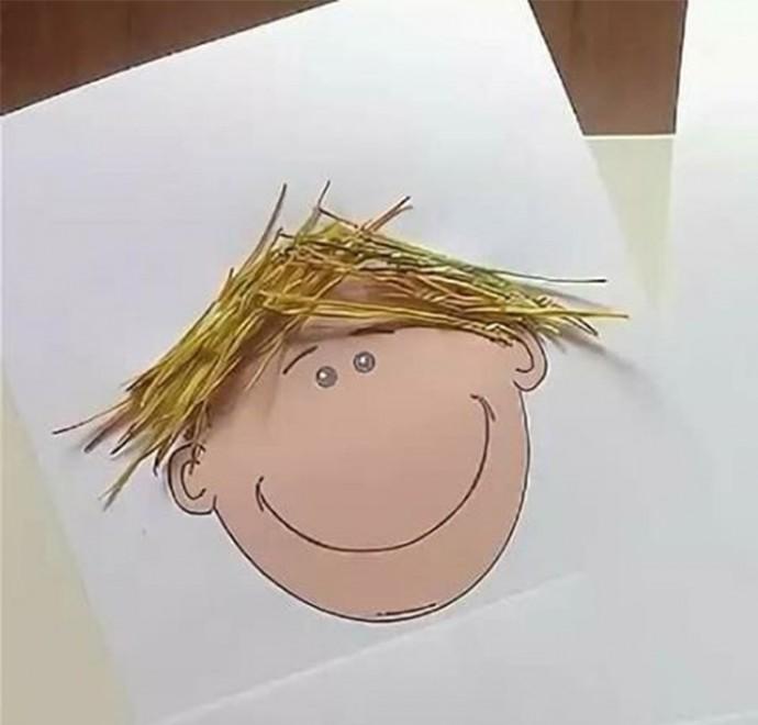 Как сделать волосы из соломы или сухой травы