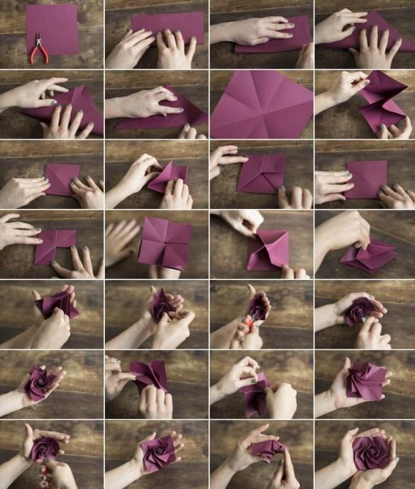 Роза-оригами