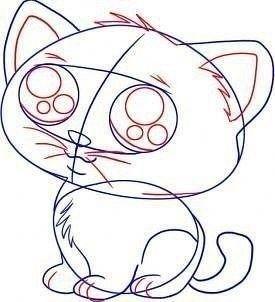 Учимся рисовать котенка с большими глазами