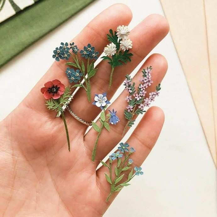 Крохотные цветы из бумаги: идеи детского творчества