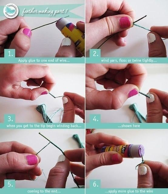 Делаем перья детскими руками