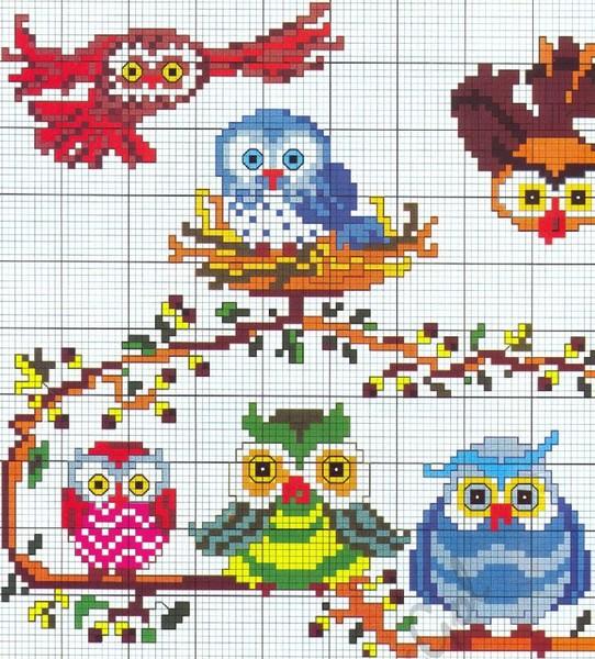 Схемы вышивки птичек с детьми 4