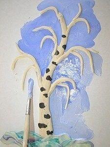 Зимняя береза из пластилина