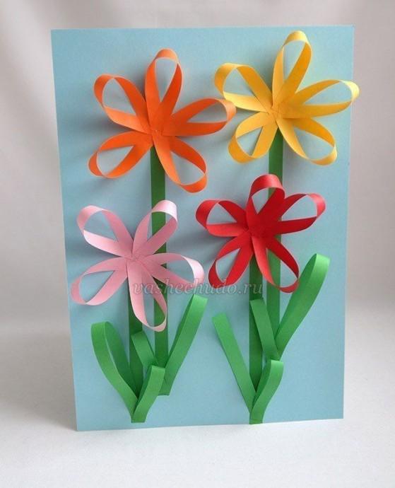 Аппликация с объемными цветочками