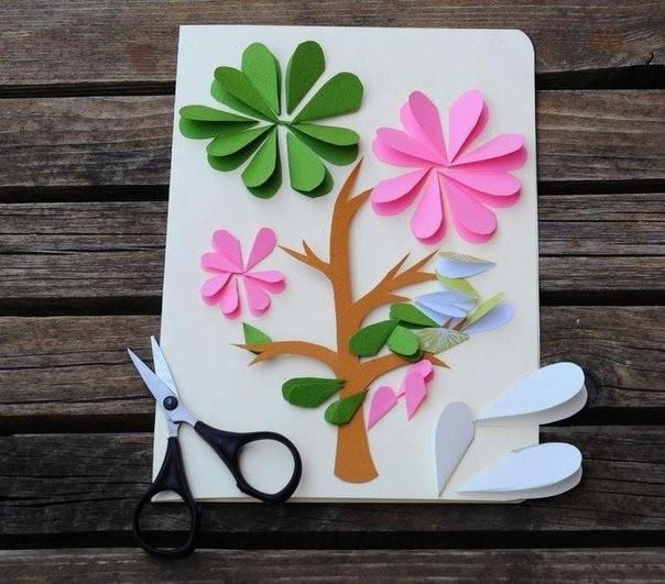 Открытка с цветущим деревом 3