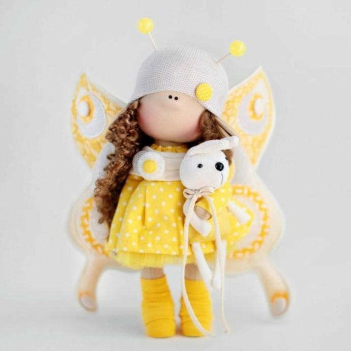 Текстильные куколки-бабочки